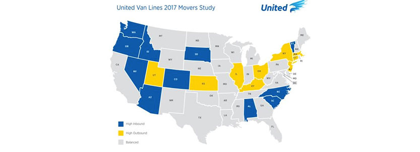 United Van Lines' Annual National Mover's Study Shows Americans Continue to Migrate West and South